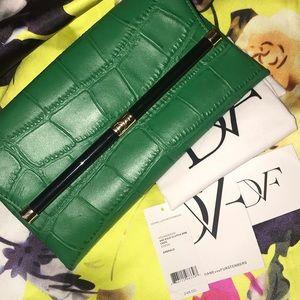 DVF Croc-Embossed Leather Envelope Clutch Bag